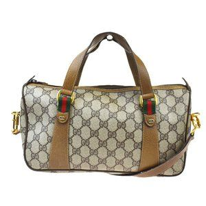 GUCCI Shelly GG Pattern Logos 2Way Hand Bag PVC